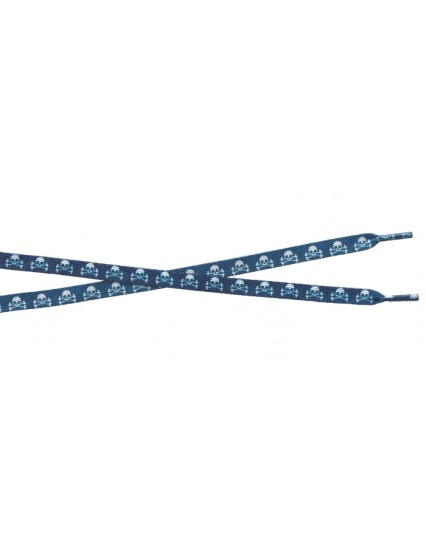 SKULL BLUE & WHITE Shoelace