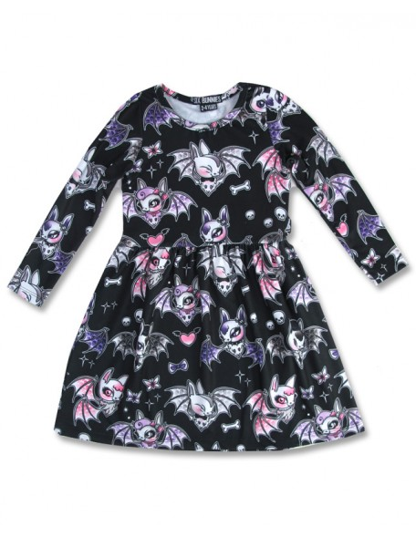 CUTE BATS Black Langarm Kleid