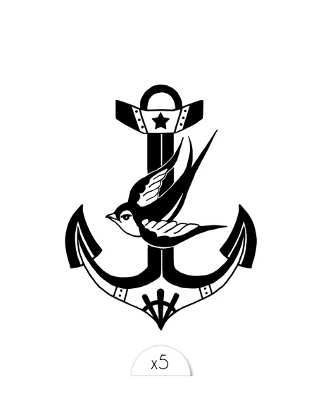 BIRD ANCHOR Temporary Tattoo