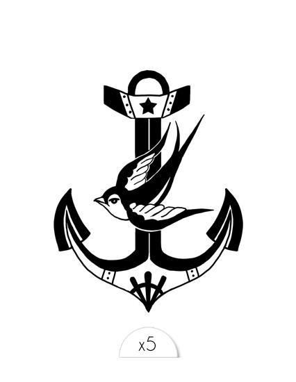 ANCRE OISEAU Temporary Tattoo