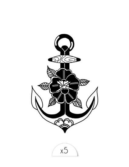 FLOWER ANCHOR Kids tattoo
