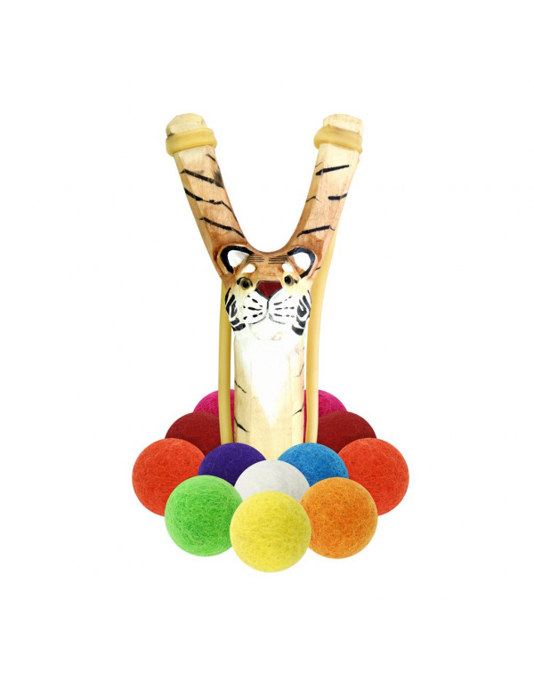 WOODEN TIGER SLINGSHOT + MULTICOLORED FELT AMMO