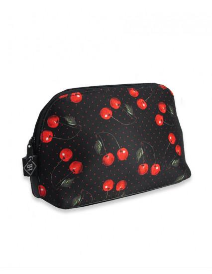 CHERRIES black Cosmetic Bag