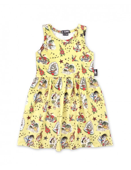 ALOHA SAILOR YELLOW Sleeveless Dress