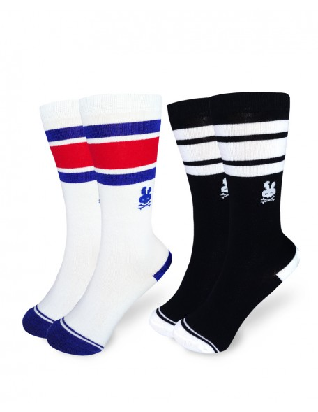 BLUE/BLACK Pack of two Knee High Socks
