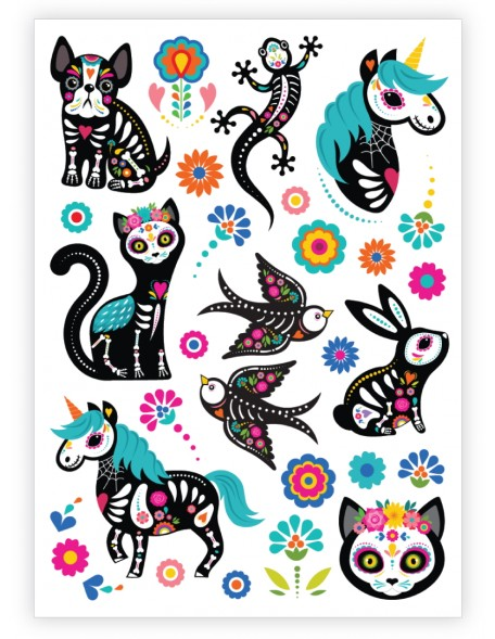 SUGAR SKULL ANIMALS Temporary Tattoo