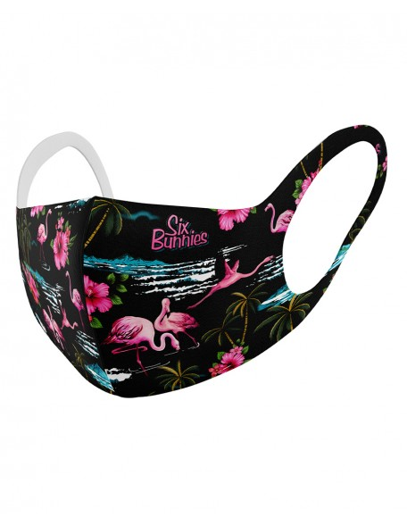 FLAMINGOS BLACK Childrens cloth mask