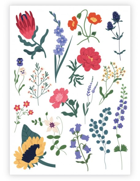 FLOWERS AND HERBS Temporary Tattoo