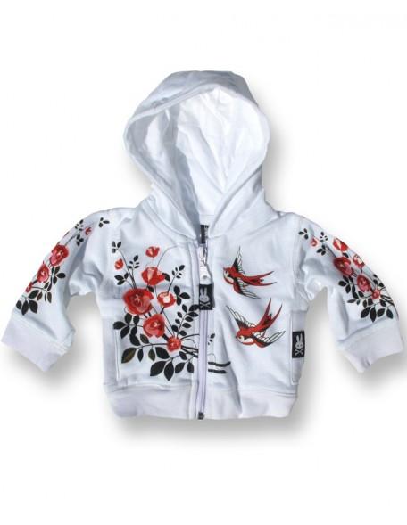 BIRDS'N'ROSES White Baby Hoodie