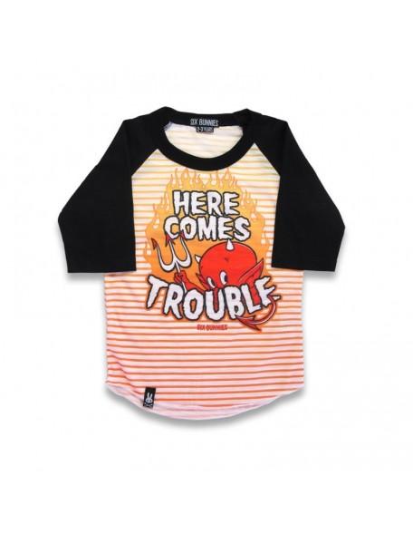 HERE COMES TROUBLE Raglan Shirt